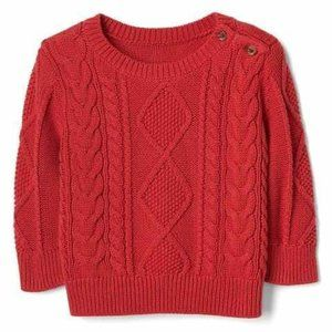 Baby Gap Red Cable Knit Sweater | 18-24m